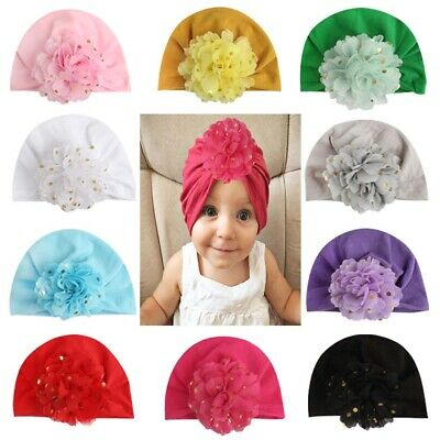 Cute Newborn Baby Girls Kid Toddler Cap Comfy Flower Beanie Head Wrap Turban Hat