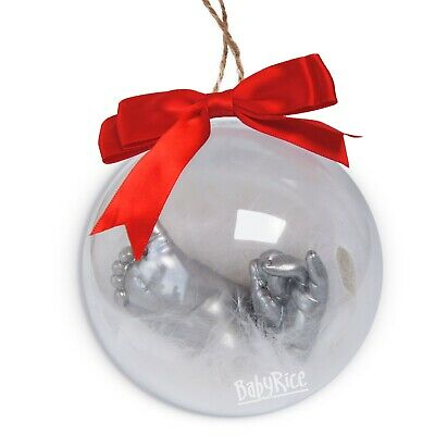 Baby's First Christmas Hand Foot Casting Kit Personalised Bauble Tree Decoration