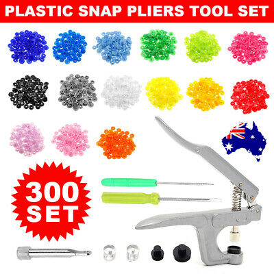 300 Sets Snaps Buttons Kam Colourful T5 Plastic Fasteners Pliers Press Stud Tool