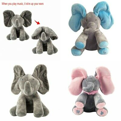 Peek-a-boo Singing Elephant Music Doll Plush Toy Kids Birthday Gift Animal Doll