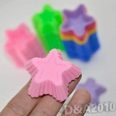 10X Star Shape Silicone Candy Chocolate Soap Mould Fondant Cup Cake Baking Molds