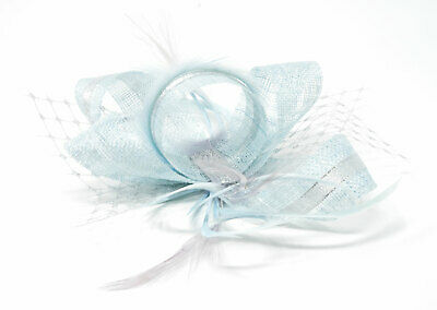 Pale ice blue and silver fascinator on a clip, comb and Alice band …