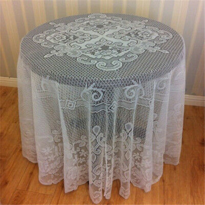 """White Vintage Round Lace Table Cloth Topper Floral Tablecloth Wedding Party 70"""""""