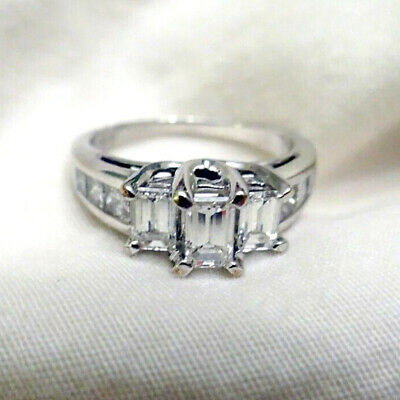 14K White Gold Finish 3.00 Ct Diamond Engagement Ring Excellent Emerald Cut