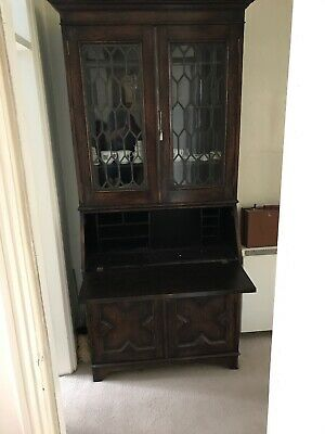 Large wooden bureau / bookcase with writing desk and cupboard