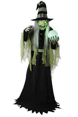 Fortune Teller Witch 6Ft Animated Figure Halloween Light Up Moving Speaking Prop
