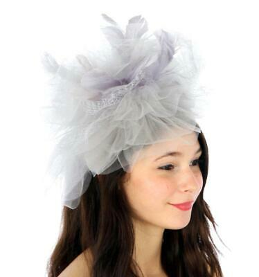 Silver Grey Large Feather Tulle Couture Fascinator - Ascot Wedding Races