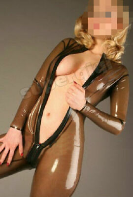 Latex 100% Rubber Sexy Wetlook Coffee Catsuit 0.4mm Gummi Cosplay Bodysuit S-XXL