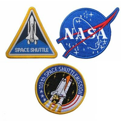 NASA Embroidered Patch 100th Space Shuttle Mission Tactical Hook Loop Badge Set