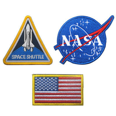 3pcs NASA Logo Space Shuttle US Flag Embroidered Tactical Cosplay Patch Badge