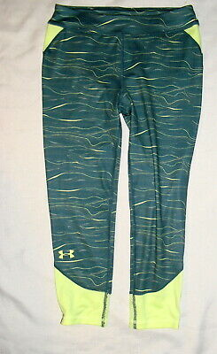 Under Armour GIRLS Fitted Capri Leggings Green Yellow Size Youth Large  NWT