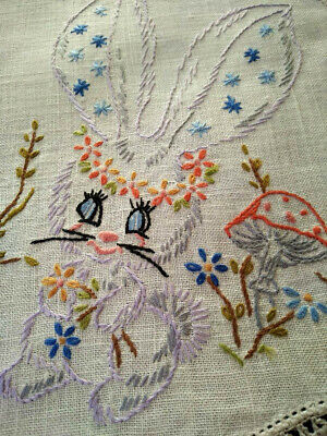 Charming Bunny, Fairy Mushrooms & Butterfly Vintage Hand Embroidered Centre/mat