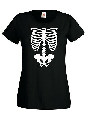 Ladies Skeleton T-Shirt - Halloween Outfit Costume Party Funny Body Bones Top
