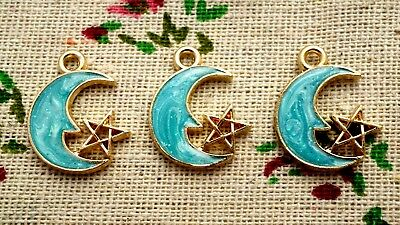 Moon and star gold & pale blue blue 3 charms jewellery supplies C719