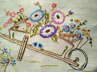 Pretty Wheel Barrow of Flowers  Hand embroidered Centrepiece