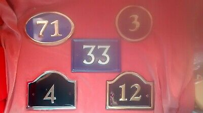 House Numbers Signs Plaques Cast Metal Brass Chrome Ovals Arch New