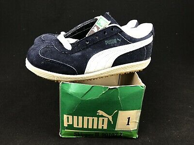 Vintage Puma Youth Skipper II Shoes Size 1 Deadstock Suede Blue Kids Rare W/ Box