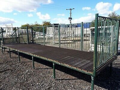 Green metal decking for static caravan with 2 x steps