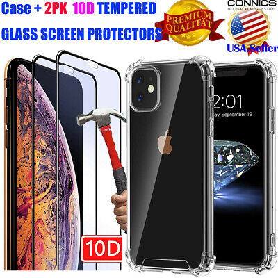 iPhone 11,11 Pro,11 Pro Max Case [Ultra Hybrid] Clear Cover+2PK SCREEN PROTECTOR