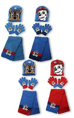 Boys Official Nick Jr Paw Patrol Hat Gloves and Scarf Set 3 PCs Set Age 3-7Yr