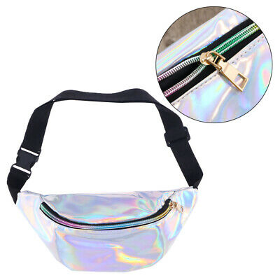 Fashion Holographic PU Leather Waist Pouch Travel Bag Waist Bag for Girls Ladies