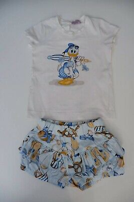 Monnalisa Donald Duck 2 Piece Outfit Set T Shirt & Shorts Size 36m Age 3 Years