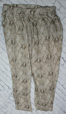 MNG Casual Women's Snake Animal Print Pants Trousers Elastic Waist Size XS
