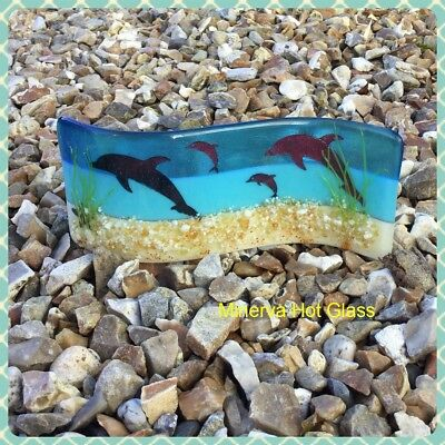 Dolphin, Fused Glass Beach Art Glass Candle Light Catcher Gift Minerva Hot Glass