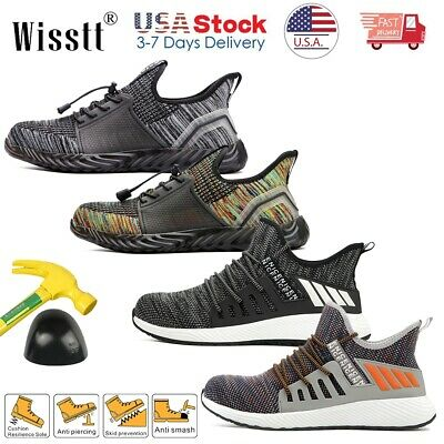 Men's Steel Toe Boots Fly Knitting Sneakers Safety Work Shoes Indestructible USA