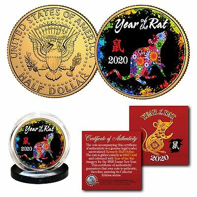 2020 Lunar New YEAR OF THE RAT 24K Gold Plated JFK Half Dollar Coin Polychrome