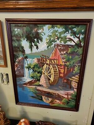 VTG Mid Century Barn Paddle Wheel Paint By Number Framed