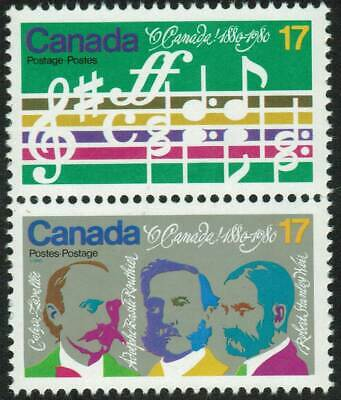 """Canada sc#858a """"O Canada"""" Centenary: Opening Bars & Composers, V Pair, Mint-NH"""