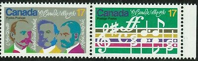 """Canada sc#858a """"O Canada"""" Centenary: Opening Bars & Composers, H Pair, Mint-NH"""