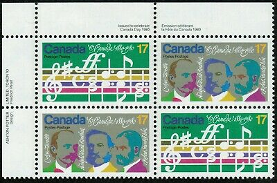 """Canada sc#858a """"O Canada"""" Centenary: Opening Bars & Composers, UL Block, Mint-NH"""