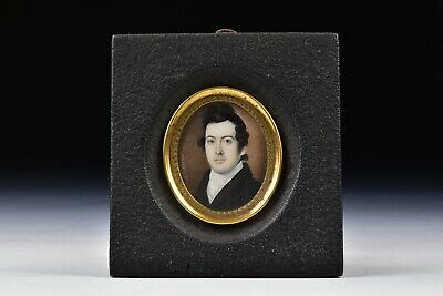 Miniature Portrait Painting of a Gentleman by Carl Weinedel 1820 Signed
