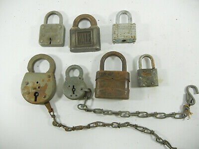 Vintage Lot of 7 locks padlocks no keys G449B