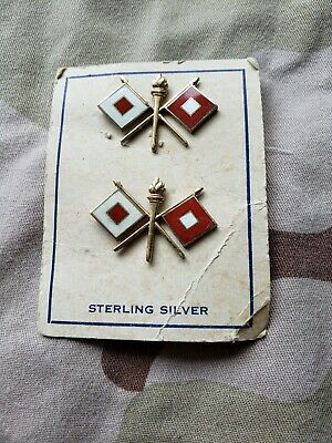 WWII US Army Signal Corps Sterling Silver Offers Collar Insignia Pin Set