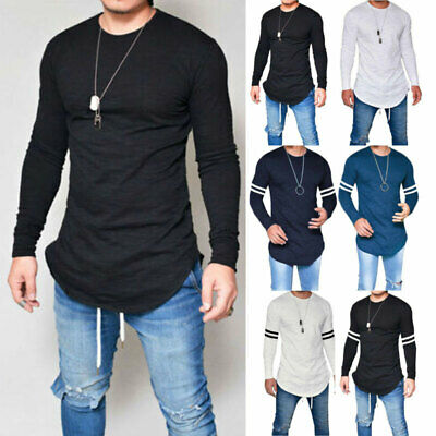 Mens Gym T Shirt Longline Slim Fit Muscle Long Sleeve Curved Hem Tee Tops Casual