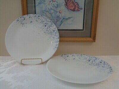 """2 NEW Corelle INDIGO SPECKLE 10.25"""" DINNER PLATES *New With Tags*"""