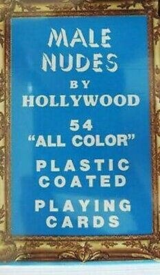 Deck of 54 vintage male nudes by hollywood - plastic coated- gay playing cards