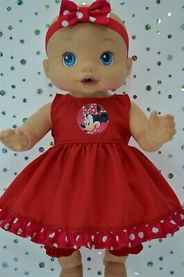 """Play n Wear Doll Clothes To Fit 13"""" Baby Alive RED DRESS~BLOOMERS~HEADBAND"""