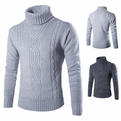 Mens Winter Warm Knitted Polo Roll Turtle Neck Pullover Sweater Jumper Casual