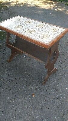 Antique Victorian Carved Oak Book Trough Coffee Table With Victorian Tiled Top