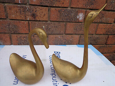 swan brass statues set of tow