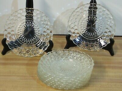 """9) Anchor Hocking Clear Bubble 6 1/2"""" Salad/Bread Plates - Exc Condition"""