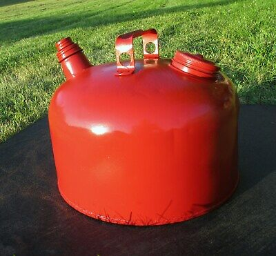 Vintage Eagle Gas Can Red Metal With Cover and Spout Screw Collar