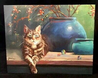 KITTY MARBLES Sleepy Lounging Tabby Cat Picture On Wood Frame Made In USA