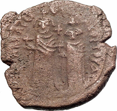 HERACLIUS & Son H Constantine Genuine 610AD Ancient Byzantine Follis Coin i80443