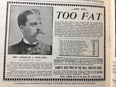 1898 Vintage Print Ad Hall's Obesity Cure/Hyomei Asthma Cure Medicine Quack