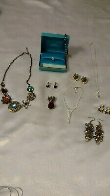 Huge Vintage to Now RHINESTONE JEWELRY 10pc Lot All Wearable Estate Junk Drawer
